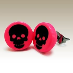 Black and Pink Skull Ear Studs