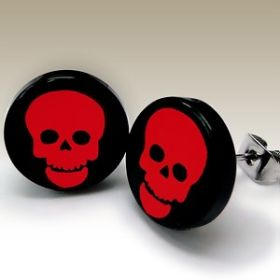 Red and Black Skull Ear Studs