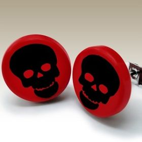 Black and Red Skull Ear Studs