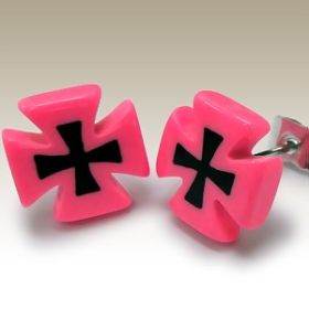 Pink and Black Cross Ear Studs