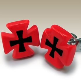 Red and Black Cross Ear Studs