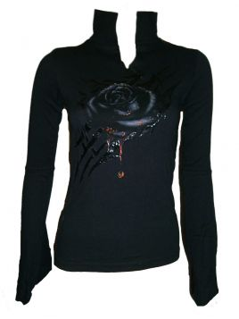 Spiral Direct Black Rose Dew Bell Sleeve Top