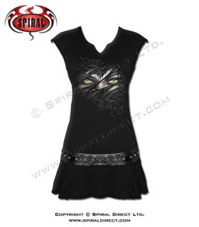 Spiral Direct Revenge of the She Wolf Studwaist Black Dress Top