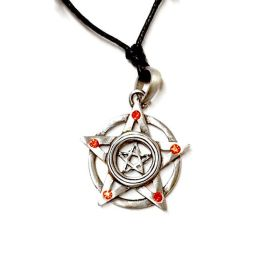 Pewter Pendant Pentagram with Red Stones