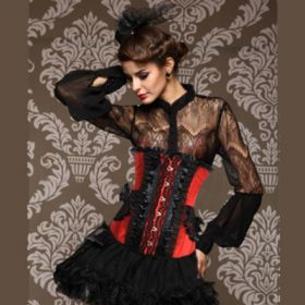 Red Black Overbrust Corset